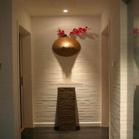 客厅进门玄关效果图:走廊吊顶装修效果图,很有原始味道的设计