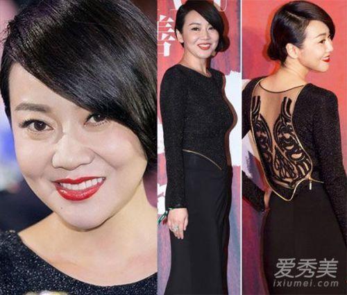 闫妮红毯造型,短发女人也可以性感妩媚,红唇让44岁的闫妮更显气质图片