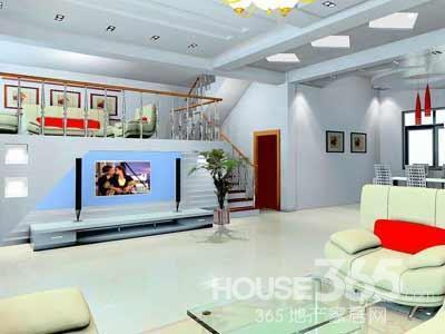 艺术玻璃电视背景墙:将楼梯下面的墙面利用起来做电视墙,别出心裁又很节省空间。电视墙的效果设计出色有余,色彩搭配不足。大红大蓝想协调起来有点难度。