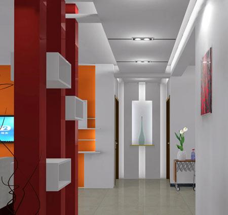 客厅进门玄关效果图:走廊吊顶装修效果图,造型很简约