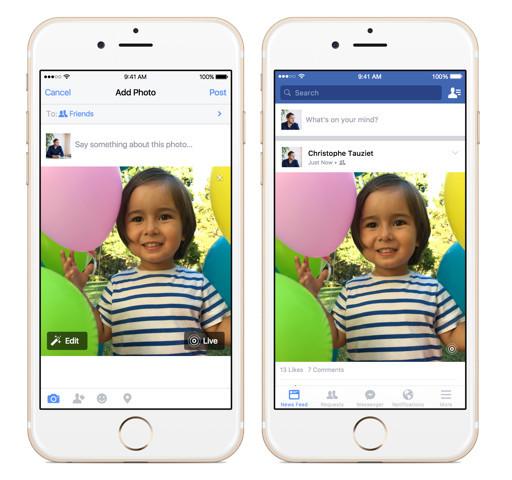 Facebook手机应用将支持LivePhoto照片 凤凰科技讯 12月22日消息,Facebook iOS应用的使用者将很快可以在Facebook上体验苹果在iPhone 6s和iPhone6s Plus上搭载的LivePhotos功能。Facebook是继Tumblr之后第二款支持LivePhoto照片分享的社交软件。 Live Photos功能是指iPhone 6s和6s Plus在拍照的同时,还会记录拍照前后瞬间(前后均约1.