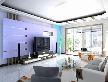 客厅电视背景墙装修图片:极简风格