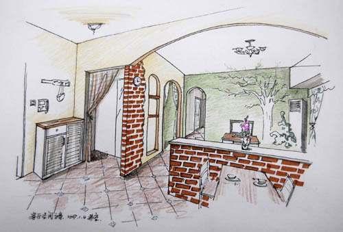 可爱房子装修简笔画
